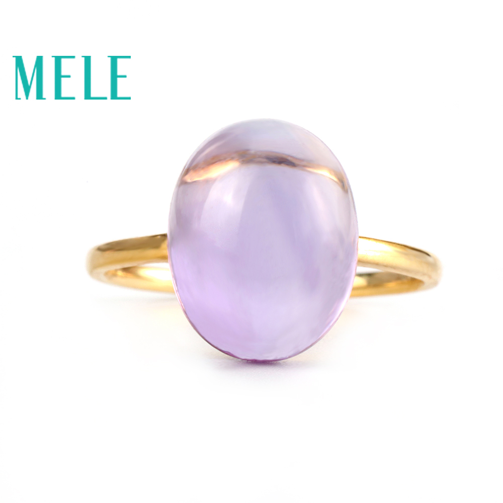 Real 18K gold natural amethyst ring for women Oval cut big gemstone jewelry modern stylish l oreal гель для умывания me hydra power men expert 150 мл