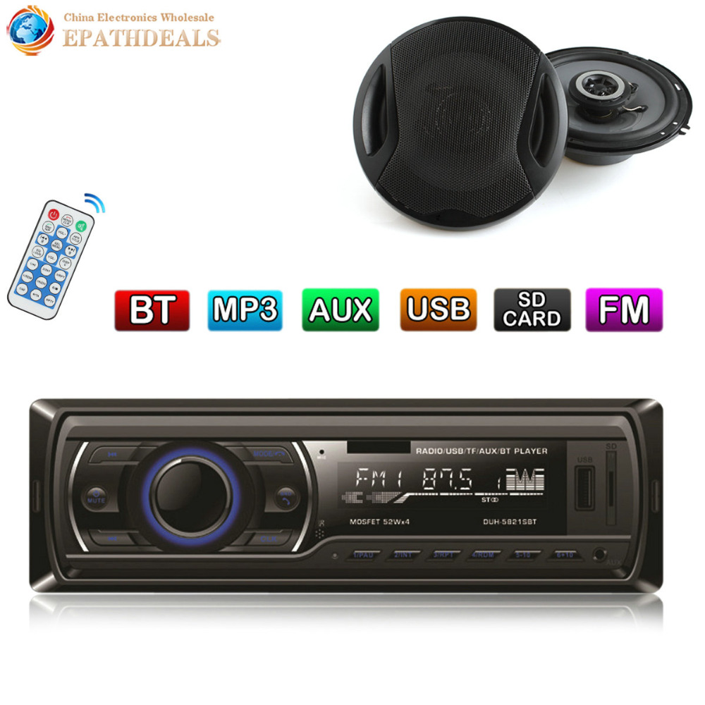 12V Bluetooth Stereo Car Radio Audio Player In-Dash FM Aux Input Receiver SD USB MP3 MMC + 2 x 6 Inch Auto Coaxial Loud Speaker car usb sd aux adapter digital music changer mp3 converter for skoda octavia 2007 2011 fits select oem radios