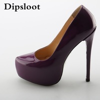 Hot Selling Women Patent Leather Round Toe 16 Cm Ultra High Heels Slip On Platform Shoes