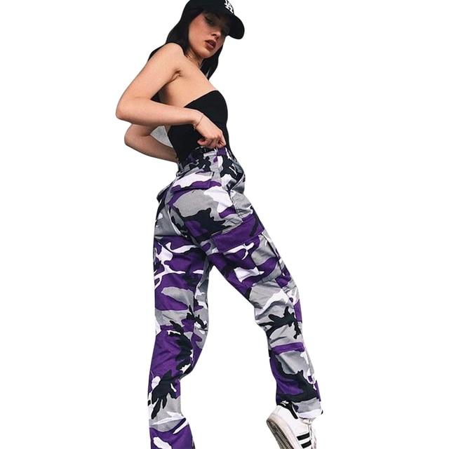 bf686a76759 Pantalon Femme Trousers Orange Camouflage Pants Women Sweatpants Purple Pink  Camo Pants Jogger Cargo Harem Pantalones Mujer Q4