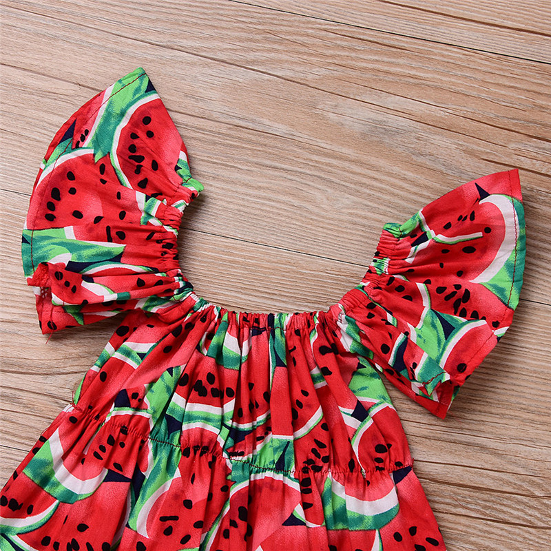 Newborn-Baby-Girls-Clothes-Watermelon-print-short-sleeve-round-neck-Bodysuit-Bowknot-Headband-2pc-cotton-casual-summer-set-1