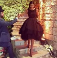 Luxury Black 2016 Robe De Cocktail Dresses Tiered Ruffles For Wedding Party Short Vestidos De Coctel Party Bride Gowns