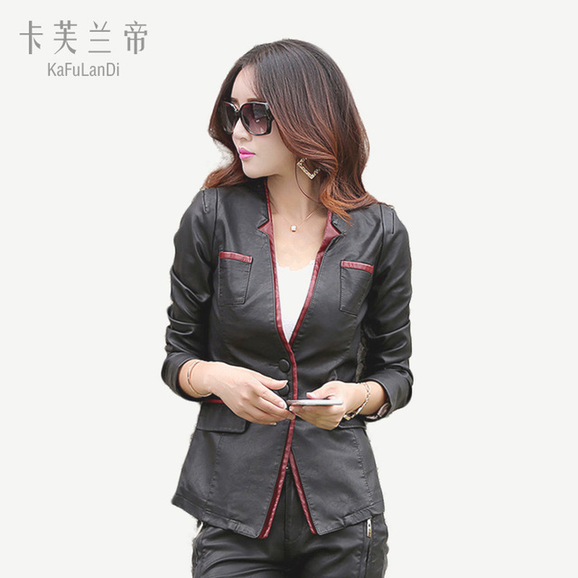 b063378efe9 KaFuLanDi 2017 women Autumn leather jacket women casual long sleeve faux  short coat Collarless fashion plus size PU cheap coat