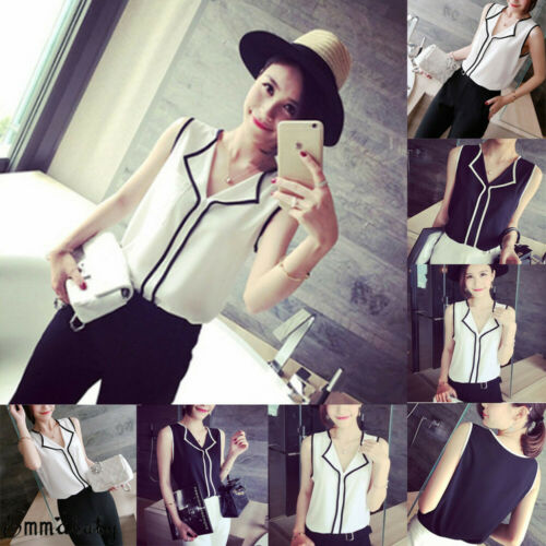 US Fashion Womens Summer Loose Vest Top Sleeveless Striped Tank Tops Office Wear V-Neck Vest