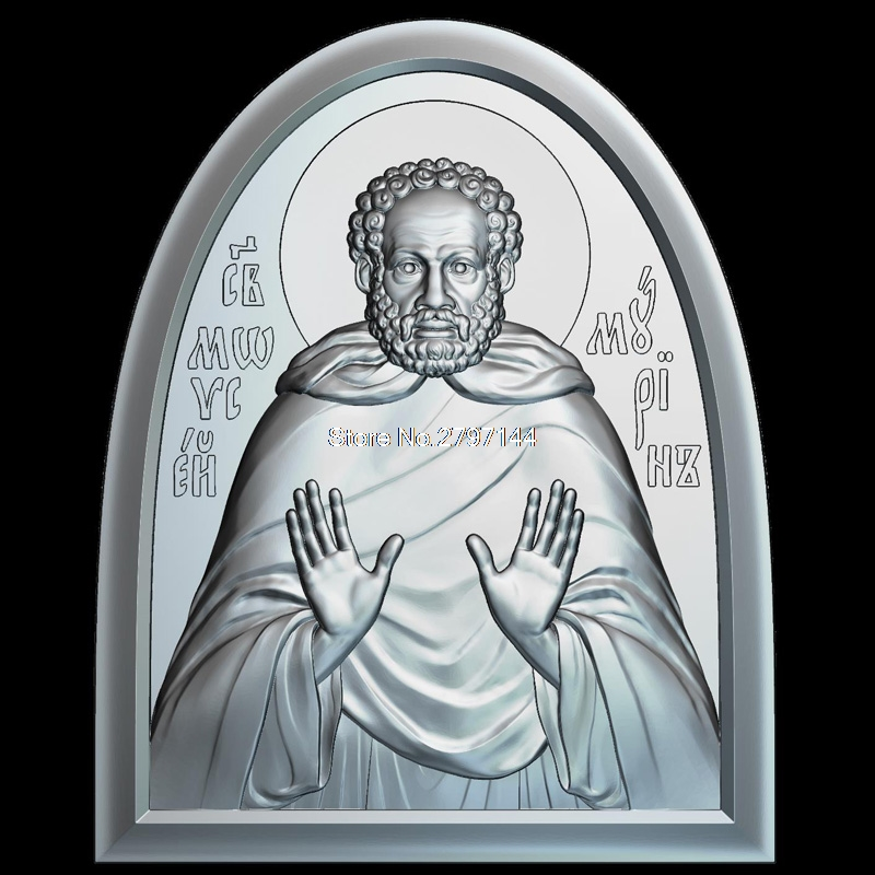 Icon St. Moses Murin 3d model for cnc STL format Religion 3d Relief Model STL Router 3 axis Engraver ArtCam martyrs faith hope and love and their mother sophia 3d model relief figure stl format religion for cnc in stl file format