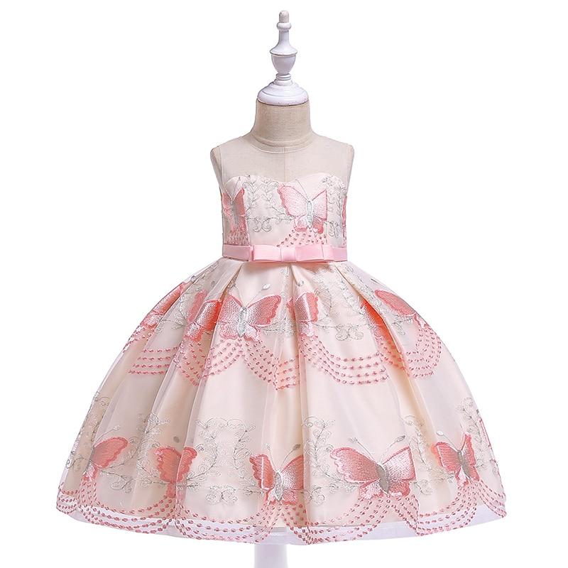 Big children's children's sleeveless butterfly mesh embroidery princess wedding dress princess wedding dress party dress4-10Year