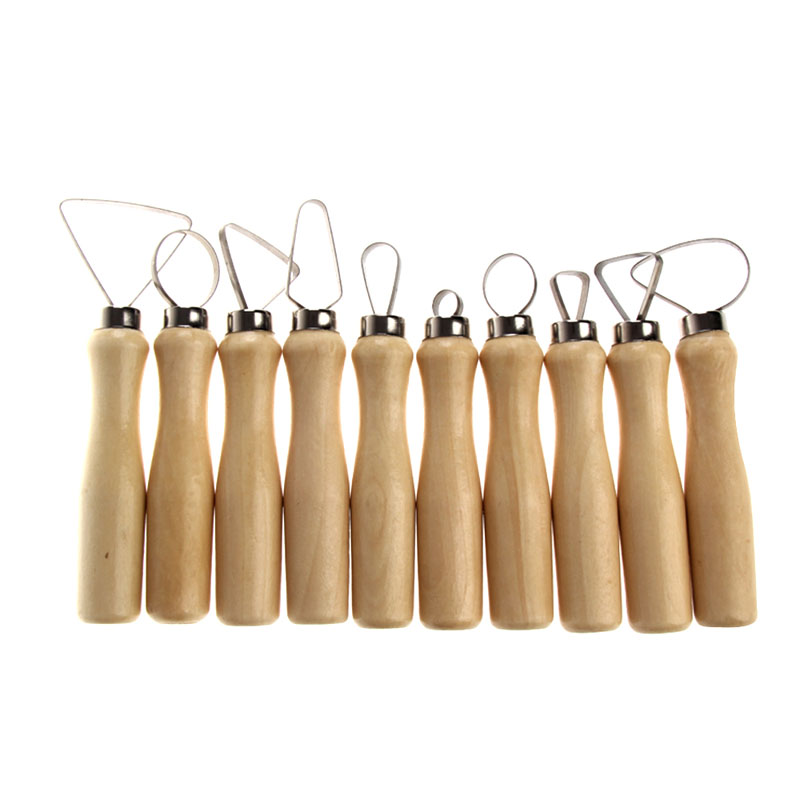 10 Pcs Wood Pottery Clay Sculpture Loop Tool with Stainless Steel Flat Wire Tools Perfect