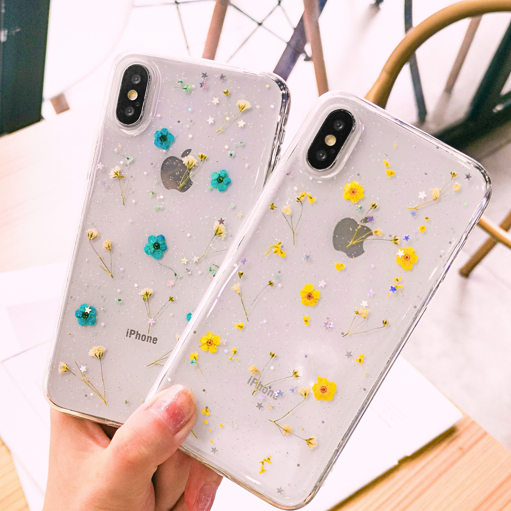 Real Flowers Dried Flowers Soft TPU Phone Case For iPhone X XS XR XS Max 6 6S 7 8 Plus Transparent Bling beautiful Back Cover