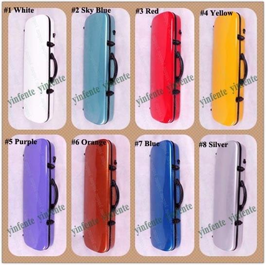 ФОТО purple   color    4/4 Violin case Glass Fiber Soft Imitate Leather Pink White Black #001