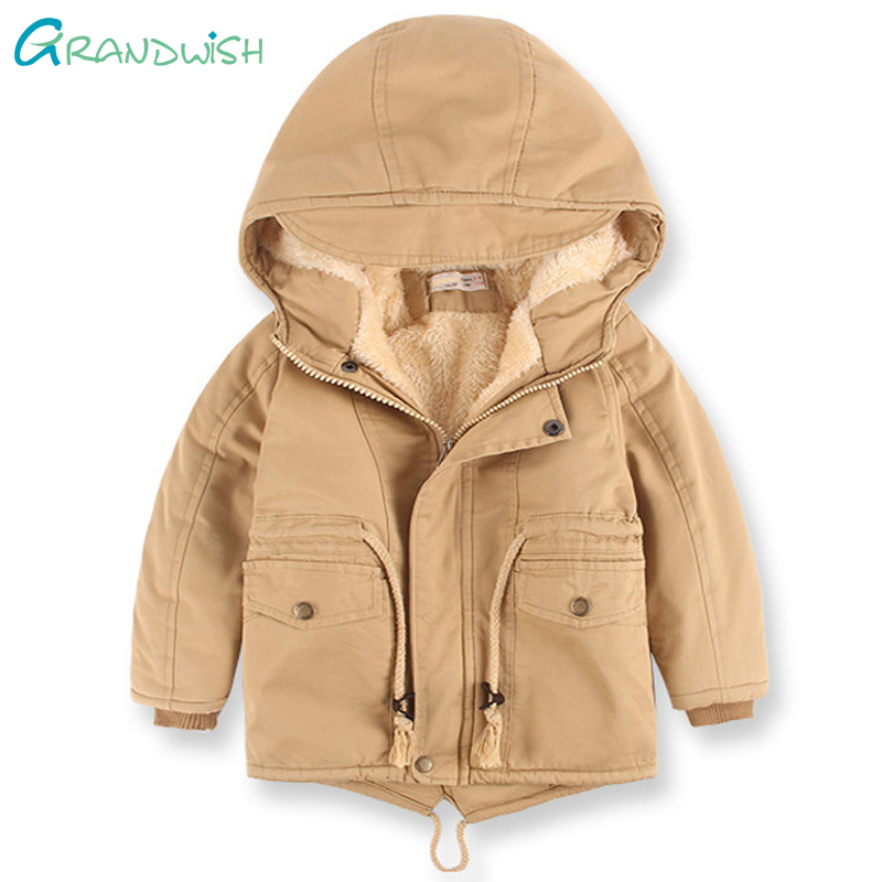 Grandwish Boys Winter Coats Children Warm Inner Thicken Clothes Hooded Jacket Baby Kids Woolen Outerwear 24M-8T,TC198 children winter coats jacket baby boys warm outerwear thickening outdoors kids snow proof coat parkas cotton padded clothes
