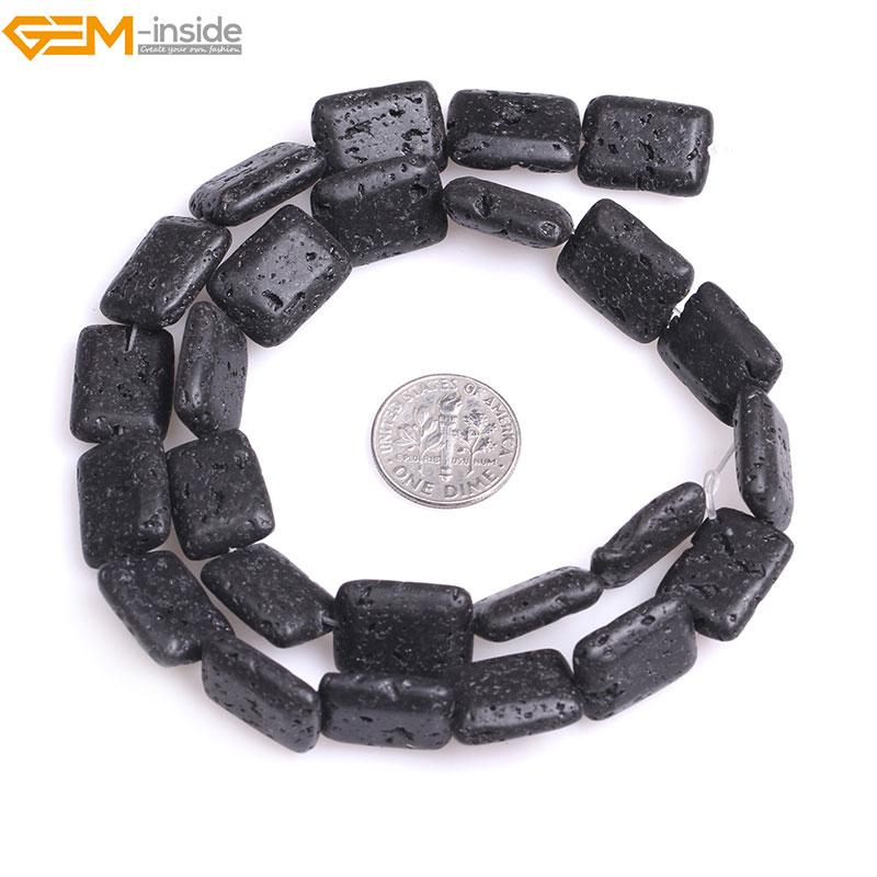 Gem-inside Natural Rectangle Black lava rock Loose Stone Beads For Jewelry Making Bracelet Necklace Strand 15 DIY Jewellery