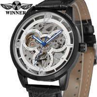 Stylish Business Skeleton Automatic Gentlemen Watch WINNER New Male Luxury Mechanical Watches Charming Dress men wristwatch