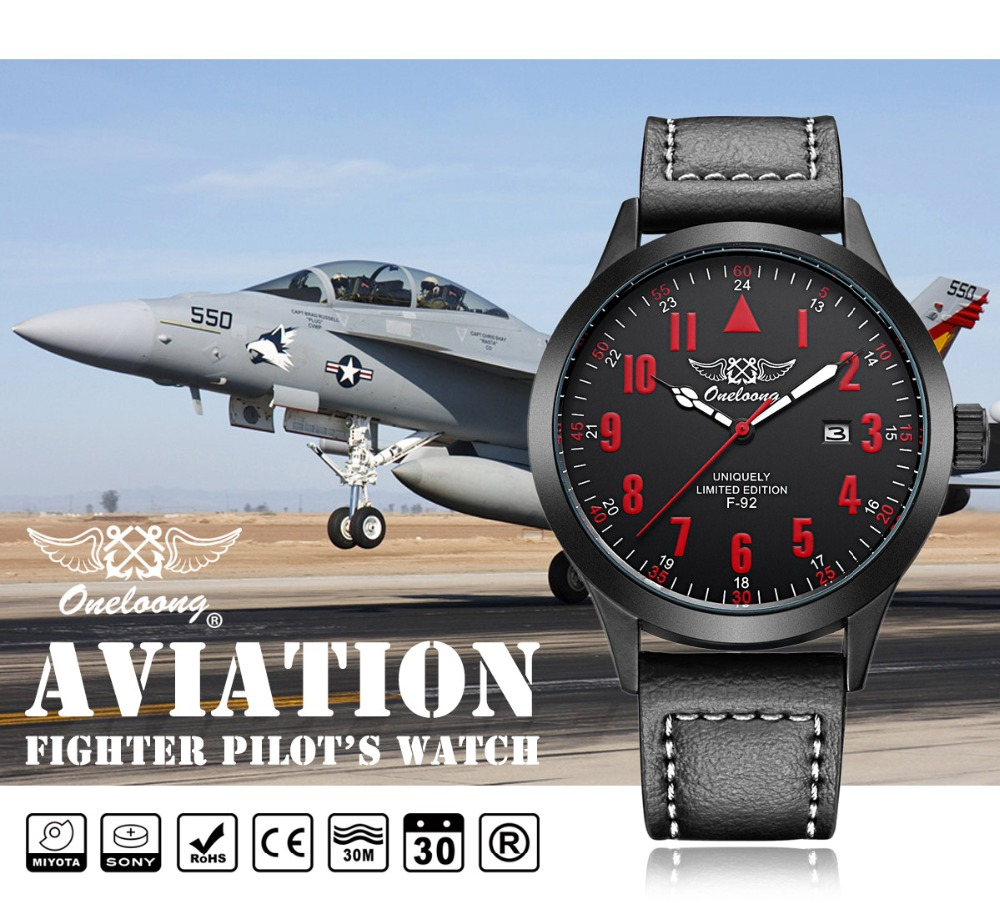 military aviator watch top brand air calendar watch men 39 s leather waterproof clock men relojes. Black Bedroom Furniture Sets. Home Design Ideas