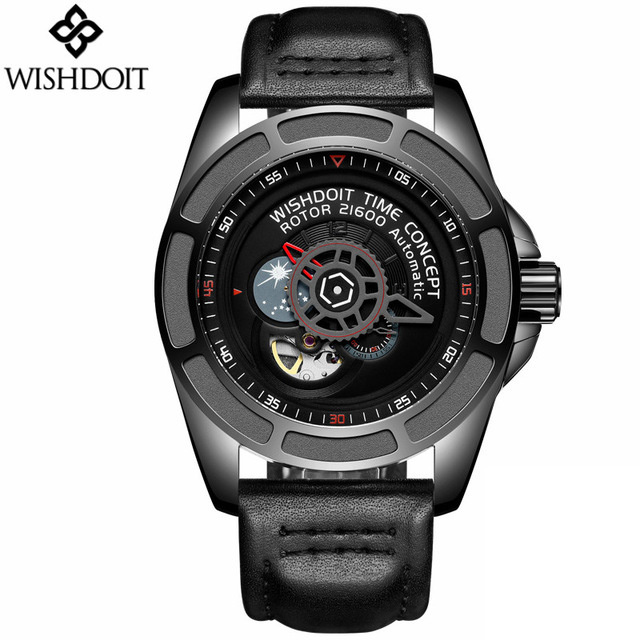 WISHDOIT Mens Watches New Men Skeleton Tourbillon Moon Phase Automatic Mechanical Watch Fashion Gear dial Rotary Table Clock цены