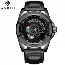 WISHDOIT Mens Watches New Men Skeleton Tourbillon Moon Phase Automatic Mechanical Watch Fashion Gear dial Rotary Table Clock