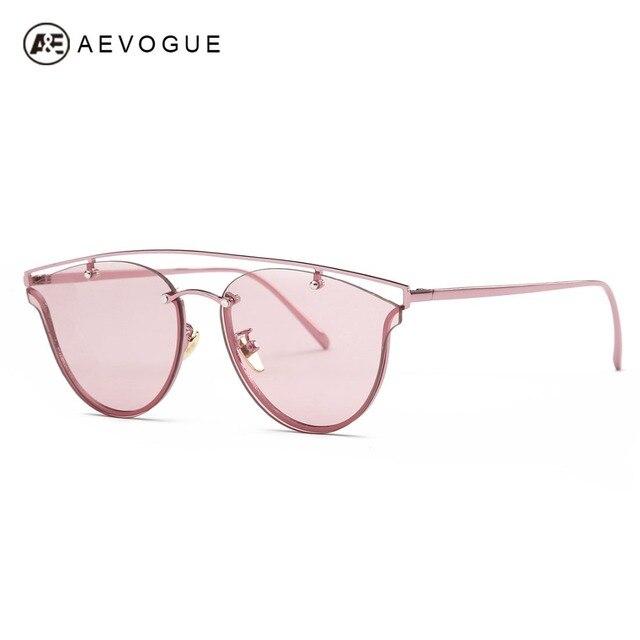AEVOGUE Sunglasses Women Cat Eye Original Brand Designer Double-Bridge Vintage Copper Frame Sun Glasses With Box UV400 AE0458