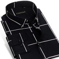 Мужская клетчатая рубашка на пуговицах с длинным рукавом, без карманов, без железа, удобная мягкая рубашка из 100 хлопка