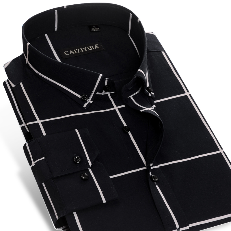 Men's Long-Sleeve Bold Check Plaid Button-Down Shirt No-pocket Non-Iron Comfortable Soft 100 Percent Cotton Slim-fit Dress Shirt