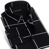 Men's Long Sleeve Bold Check Plaid Button Down Shirt No pocket Non Iron Comfortable Soft 100 Percent Cotton Slim fit Dress Shirt