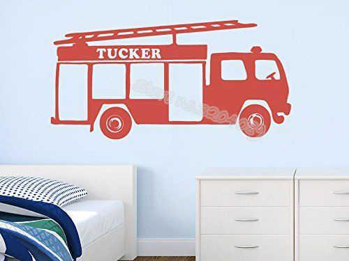 Пожарная машина большой автомобиль индивидуальная именная Настенная Наклейка детская комната большой автомобиль дома Гостиная искусства обои Виниловые росписи плакат EA108
