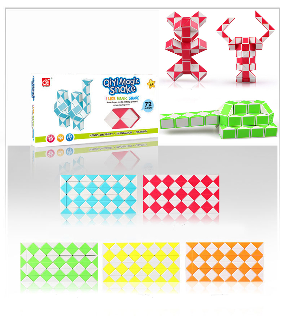 QiYi 72 Blocks Snake Magic Cube Speed Blocks Snake Twist Puzzle 72 Blocks Speed Magic Ruler Christmas Gifts For Kids