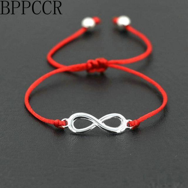 Bppccr Unique Digital 8 Chakra Infinity Braid Bracelets Bileklik Black Red String Rope Thread Men Women