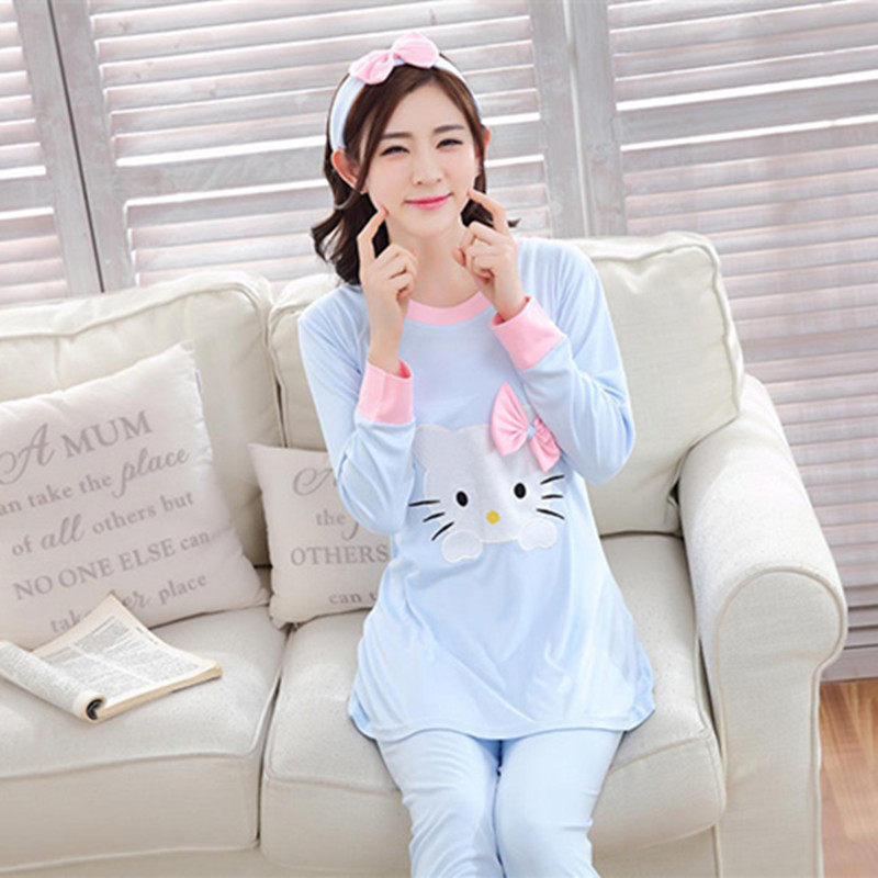 2018 Autumn New Arrival Women Cotton   Pajama     Sets   Long Sleeve Sleepwear   Set   2-pieces Plus Size O-neck Breathable Pyjamas Loungewe