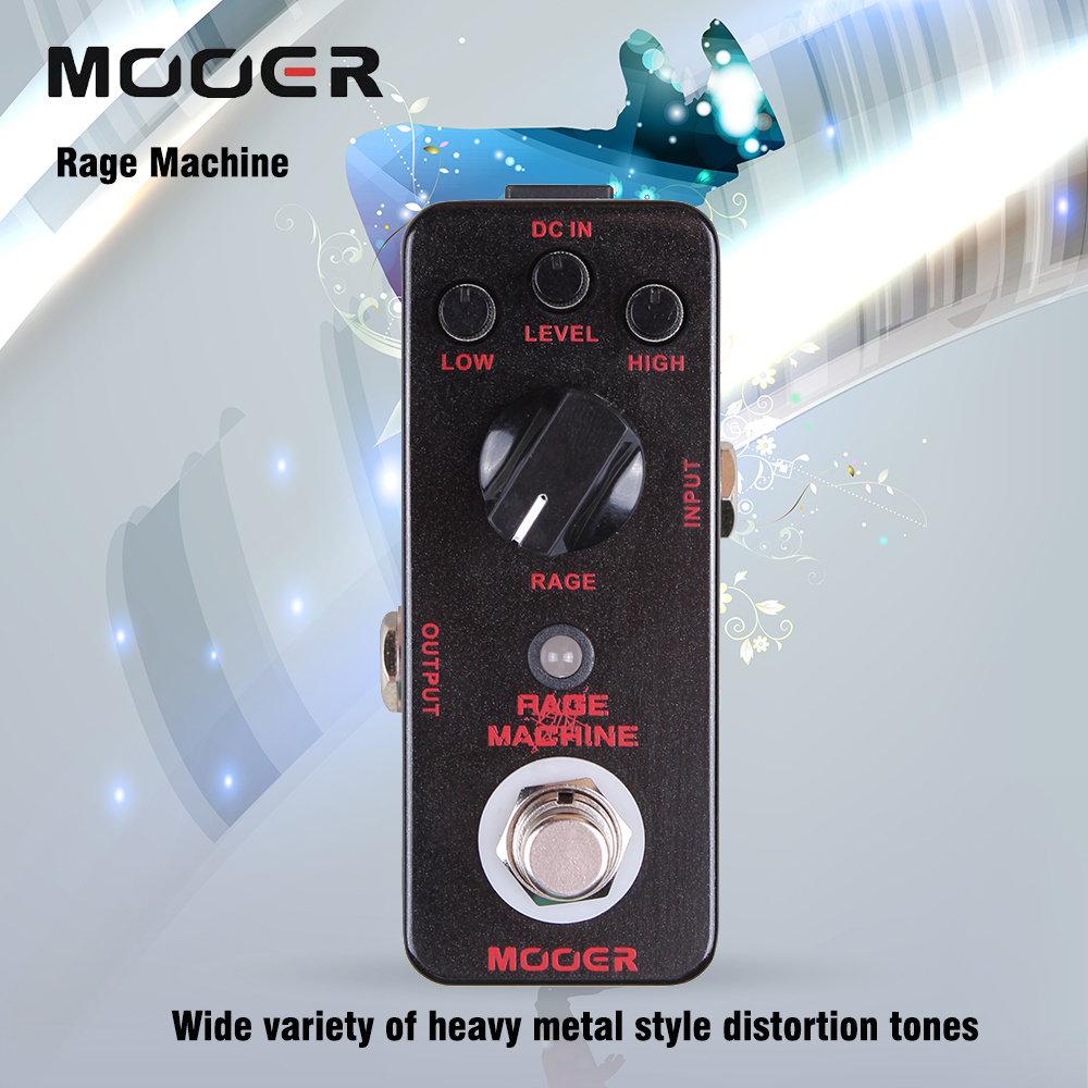 Mooer Rage Machine Heavy Metal Style Distortion Tones Guitar Effect Pedal True Bypass mooer ensemble queen bass chorus effect pedal mini guitar effects true bypass with free connector and footswitch topper