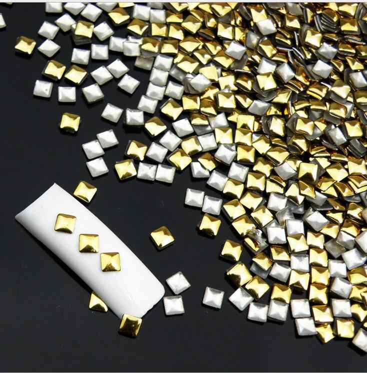 100pc / pack square metal rivets gold / silver optional nail art tool nail decoration