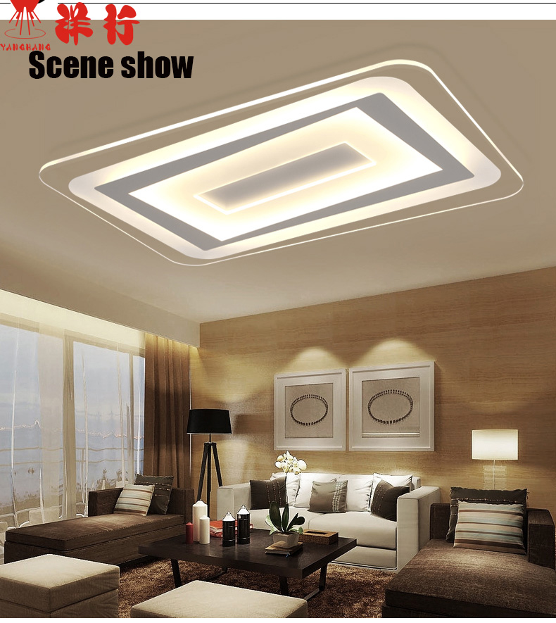 US $134.75 23% OFF|LED lights sitting room atmosphere rectangular absorb  dome light Contracted and contemporary bedroom light ultrathin  restaurant-in ...
