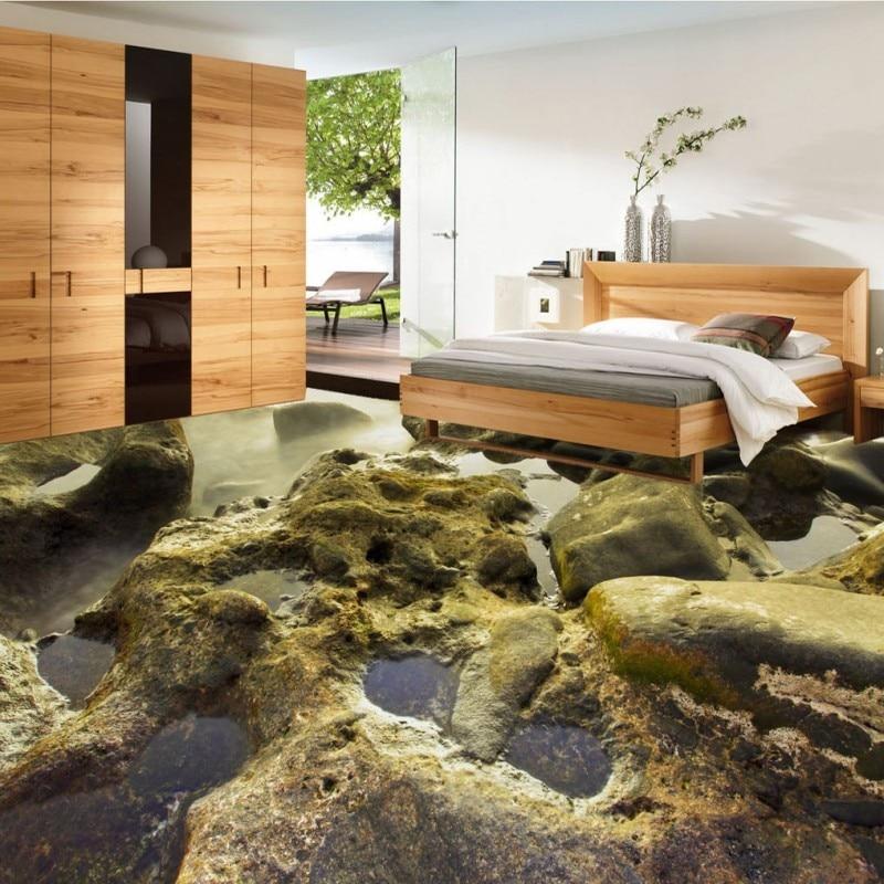 Free Shipping custom Coast shallow beach stone water 3D living room bathroom floor Self-adhesive high quality wallpaper mural free shipping shockwave seabirds beach