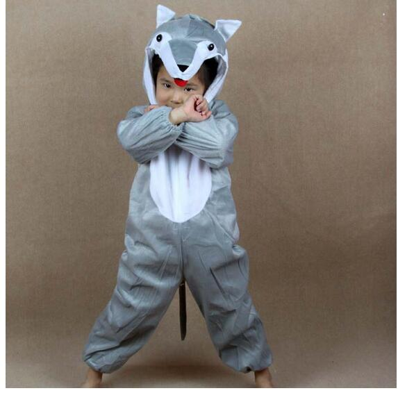 Children Kids Baby Girl Boy Gray Wolf Costume Jumpsuit Cartoon Animal Wolf Performance Children's Day Costumes Jumpsuits Y964