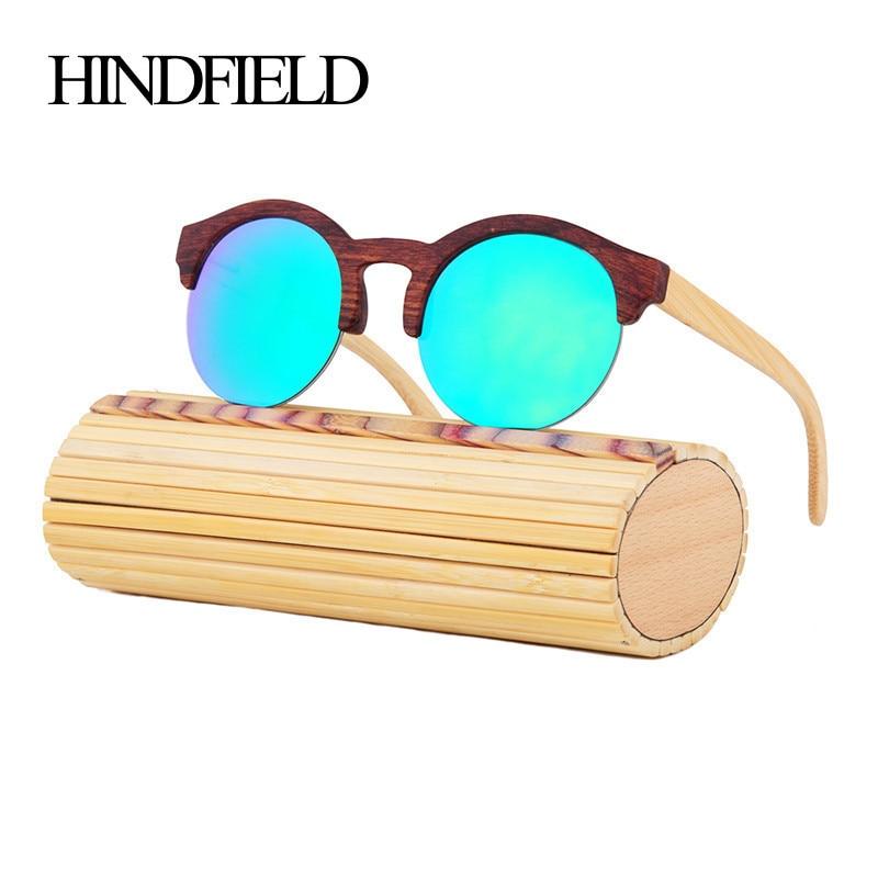 HINDFIELD Fashion Round Bamboo Sunglasses Women Luxury Brand Design Vintage Retro Wood Sun glasses For Men oculos de sol mujer