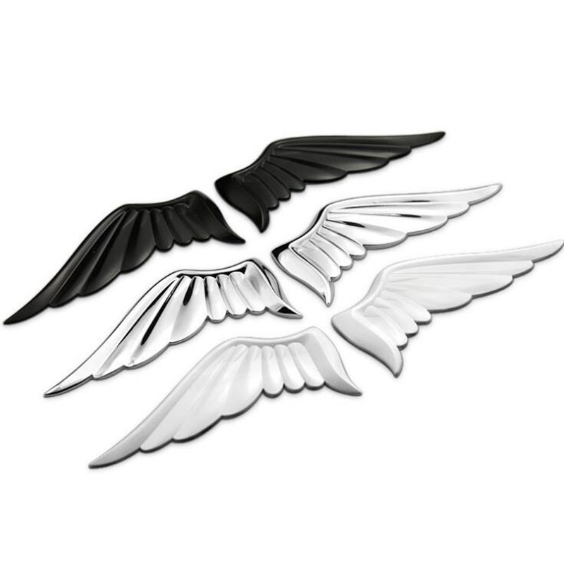 Pair 3D Zinc Alloy Metal Silver Guardian Angel Wings Car Emblem Badge Logo Sticker Auto Truck Decal Car styling Metal Sticker mayitr metal 3d black limited edition sticker universal car auto body emblem badge sticker decal chrome emblem car styling