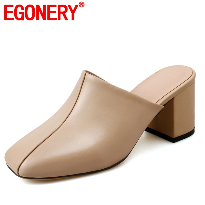 EGONERY brand Genuine cow Leather woman slippers classic black apricot summer Slides 7 cm high square