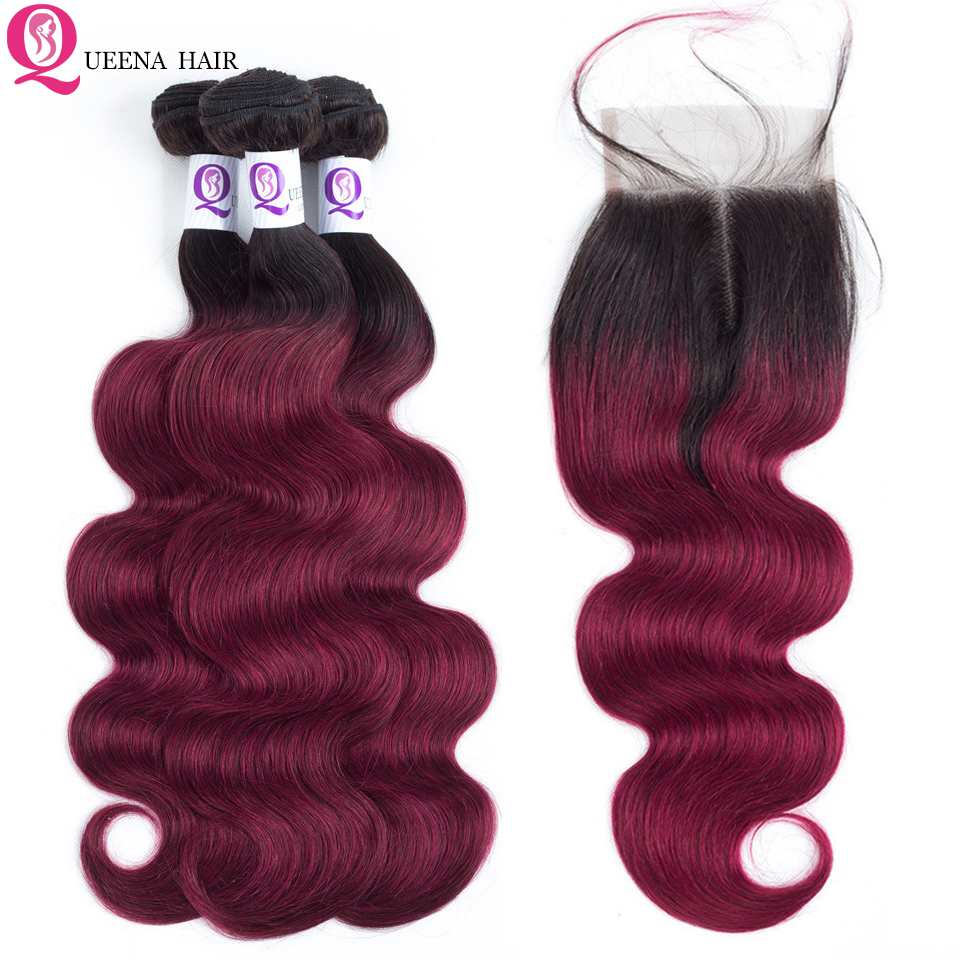 Pre Dyed Ombre 1B Burgundy Bundles With 4X4 Lace Closure Body Wave Malaysian Human Hair Weave 3 Bundles With Closure Baby Hair