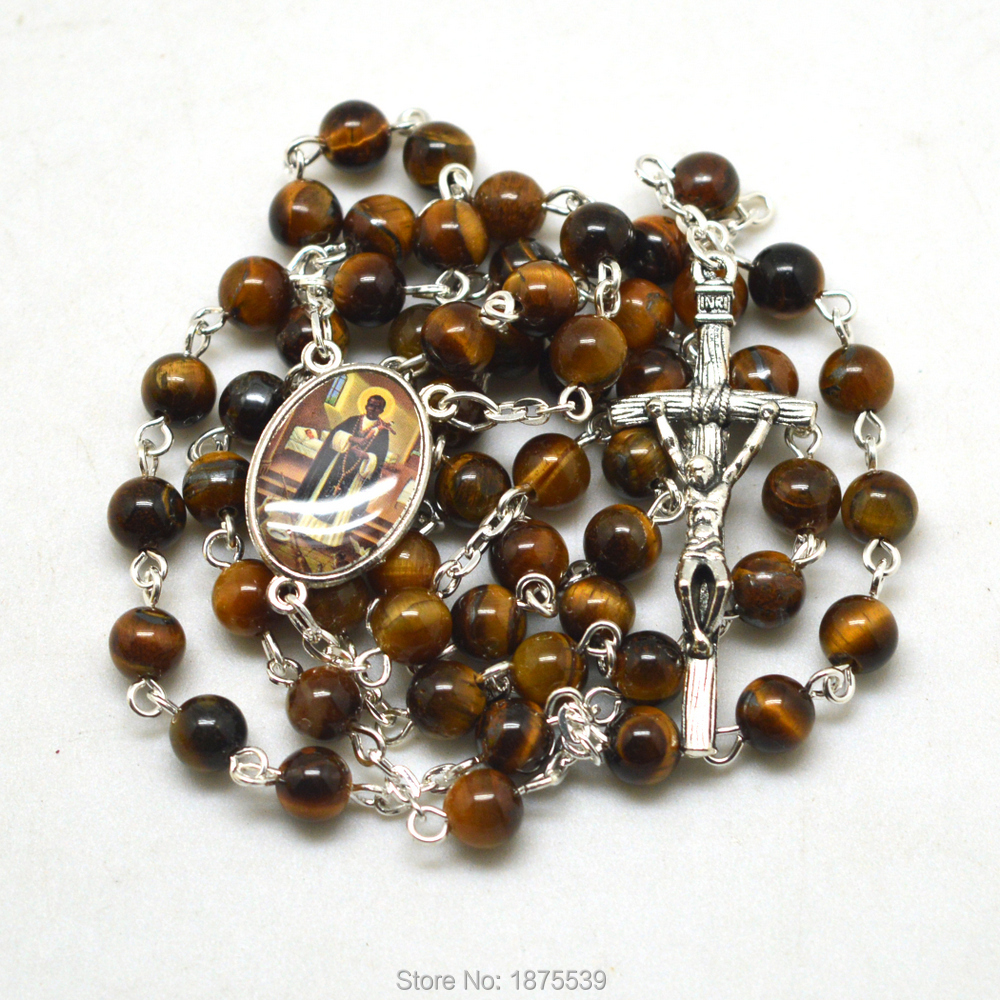 San Martin Catholic Rosary Necklace Fashion Tiger Eye Bead Popular In USA