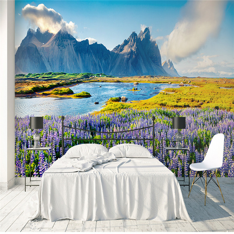 3D Nature Wallpapers Beauty Landscape Purple Flowers Mountain Wall