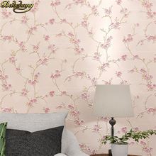 beibehang Romantic pastoral plum 3D floral wallpaper for living room warm bedroom TV background wall papers home decor flooring beibehang chinese rich floral pattern gold foil paper gold living room bedroom tv background works wallpaper 3d flooring