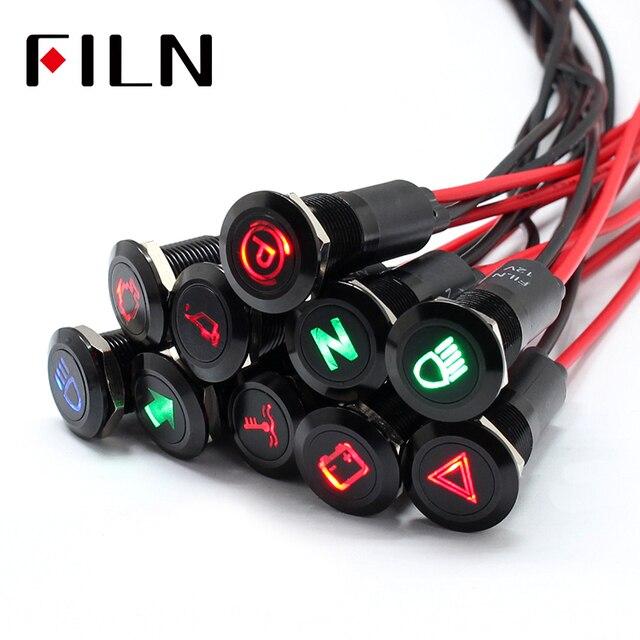 12mm lampe étanche FILN 12V LED voiture bateau LED avertissement tableau de bord feux de signalisation Instrument pilote lumière noir Chrome fini