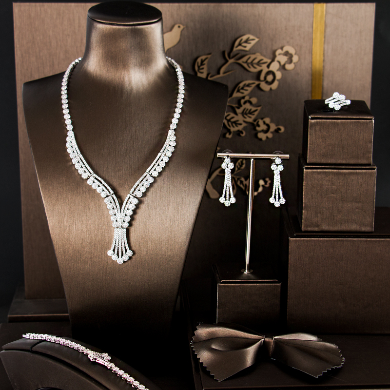 LAN PALACE Simple original desig copper alloy 5A cubic zirconia jewellery set earrings necklace ring bracelet free shipping