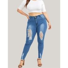 Jeans Woman Casual Button High Waist Fashion Ripped Hole Denim Skinny Streetwear Plus Size jean femme 5XL H40
