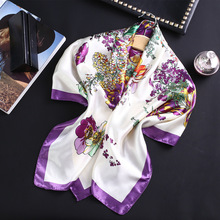 Women's Square Floral Print Silk Scarf Ladies Shawls and Wraps Small Office Scarf Fashion Foulard Neckerchief Bandana 90*90cm недорого