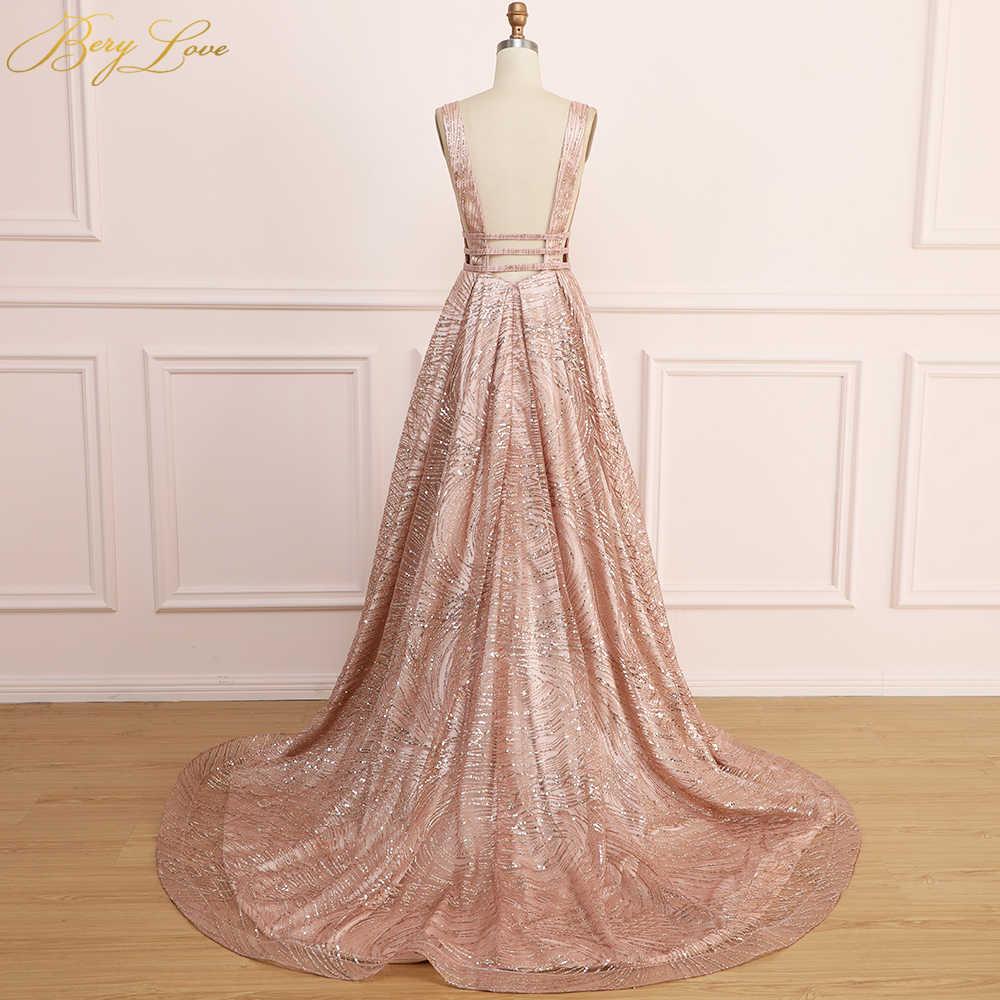 4bc713597e00d BeryLove Long Prom Dress Gold Sequin Evening Dress 2019 for Women Shiny  Sexy vestidos de fiesta V Neck Open Back robe de soiree