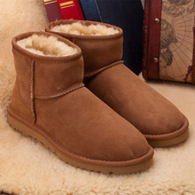 TIIDAขายHot Topคุณภาพผู้หญิงรองเท้าหิมะรองเท้าฤดูหนาวที่อบอุ่นหนังแกะหนังแท้100%ขนธรรมชาติผู้หญิงรองเท้าข้อเท้า