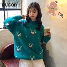 RUGOD винтажные Модные женские рождественские свитера с круглым вырезом повседневные женские пуловеры Большие размеры вязаная зимняя одежда pull femme hiver