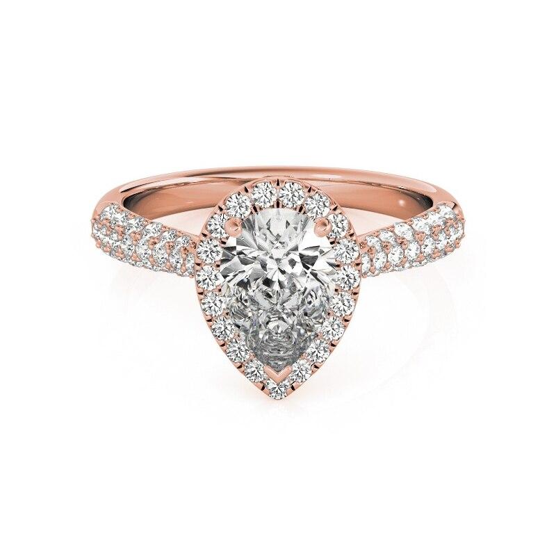 AINUOSHI 925 argent Sterling couleur or Rose poire coupe anneaux de mariage femmes fiançailles Halo bandes anneaux belle argent fête cadeaux - 2