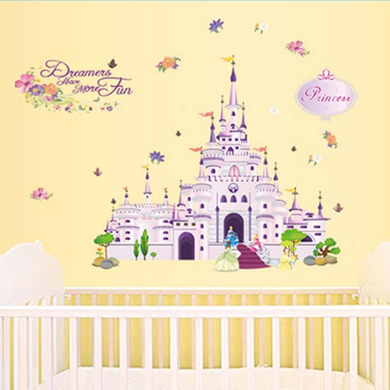 Princess Birds Flower Castle Decal Sticker Girls Wall Stickers Home ...