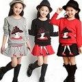 2016 летние девушки шорты комплект одежды детская одежда Европейских и Американских (футболки + юбки) 2 шт. комплект одежды девочка одежда