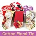Mens al por menor Floral Corbata Flor de Algodón de Lino 6 cm de Ancho Gravata Corbatas estrechas 2017 Nueva Moda Retro Delgado Rojo Púrpura corbata